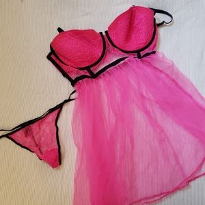 Victoria's Secret Pink Tulle Negligee Teddy 36D L